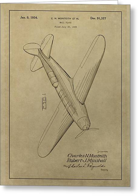 1934 Mail Plane Patent Greeting Card