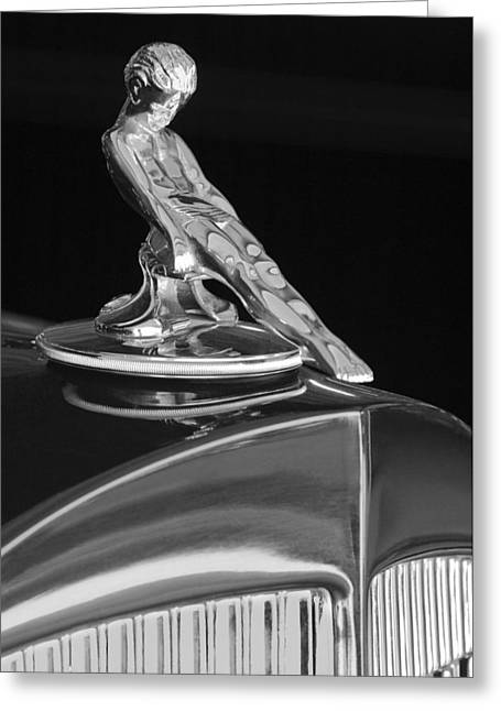 1934 Packard Hood Ornament 4 Greeting Card by Jill Reger