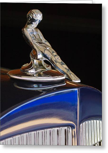 1934 Packard Hood Ornament Jill Reger Photographer Greeting Card