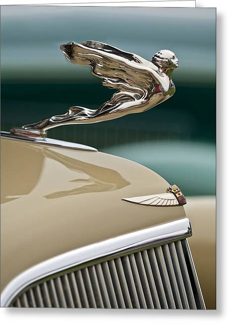 1935 Cadillac Convertible Hood Ornament Greeting Card by Jill Reger