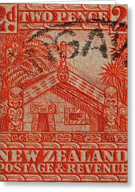 1935 Carved Maori House New Zealand Stamp Greeting Card