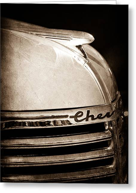 1935 Chevrolet Hood Ornament - Emblem Greeting Card