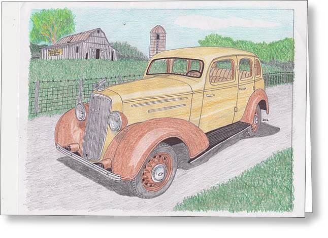 1935 Chevy Sedan Greeting Card