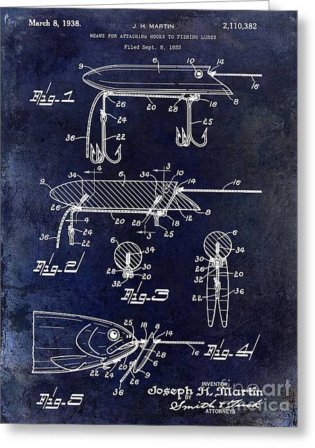 1935 Fishing Lure Patent Blue Greeting Card