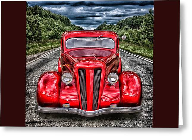 Greeting Card featuring the digital art 1935 Ford Window Coupe by Richard Farrington