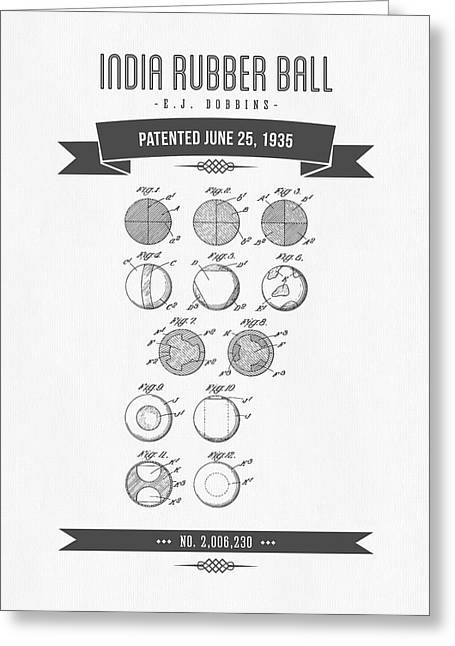 1935 India Rubber Ball Patent Drawing - Retro Gray Greeting Card by Aged Pixel