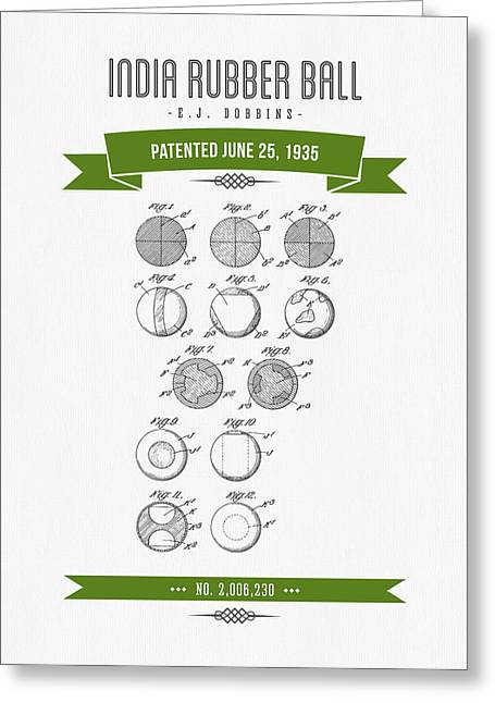 1935 India Rubber Ball Patent Drawing - Retro Green Greeting Card by Aged Pixel