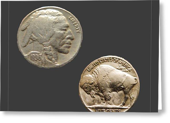 1935 Indian Head Nickel Greeting Card