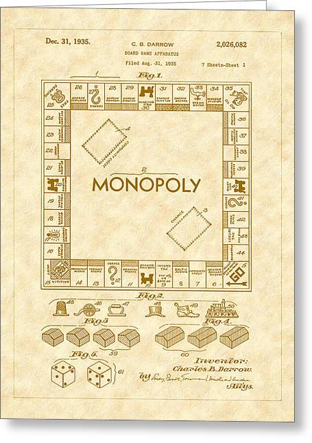1935 Monopoly Board Game Patent Art Greeting Card