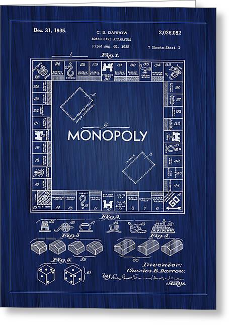 1935 Monopoly Board Game Patent-blue Greeting Card