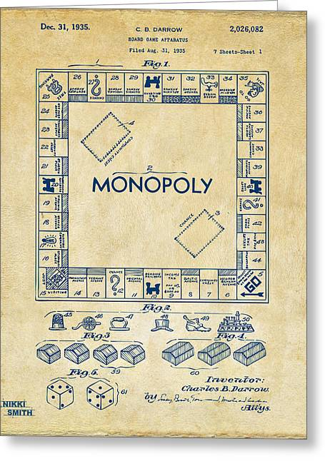 1935 Monopoly Game Board Patent Artwork - Vintage Greeting Card by Nikki Marie Smith