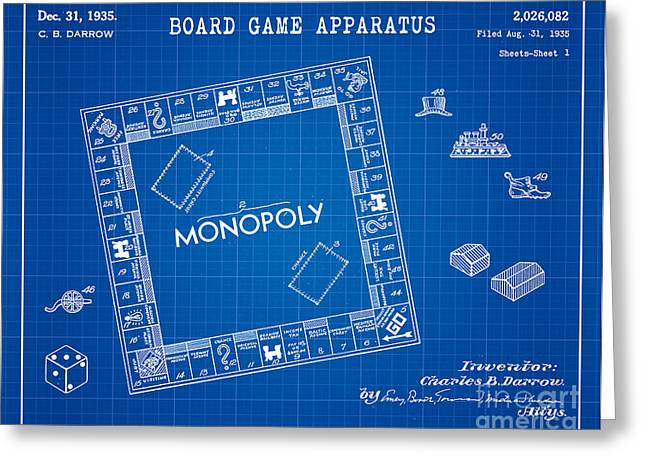 1935 Monopoly Patent Art 4 Greeting Card by Nishanth Gopinathan