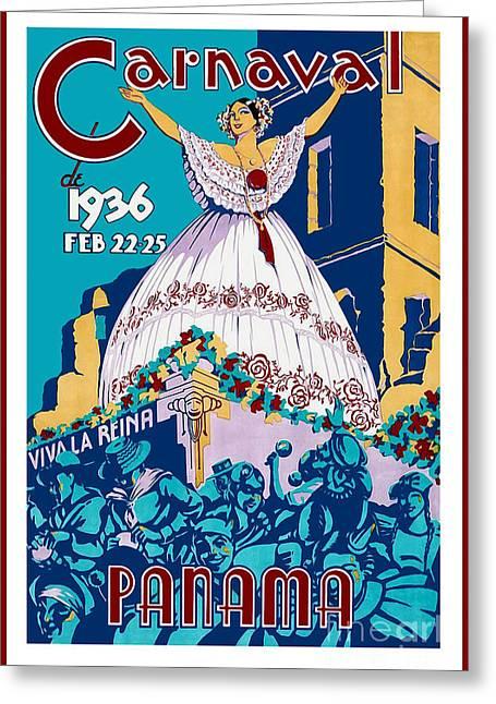 1936 Carnaval Vintage Travel Poster Greeting Card