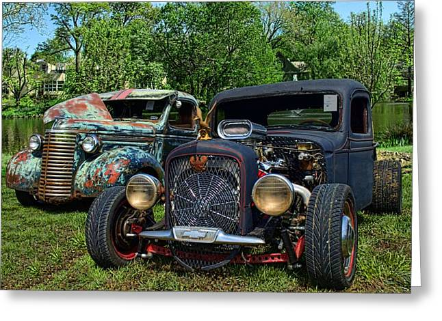 Greeting Card featuring the photograph 1936 Chevrolet And 1939 Chevrolet Rat Rod Pickups by Tim McCullough