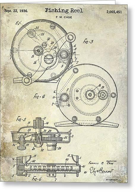1936 Fishing Reel Patent Drawing Greeting Card by Jon Neidert