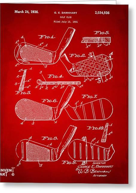 1936 Golf Club Patent Artwork Red Greeting Card