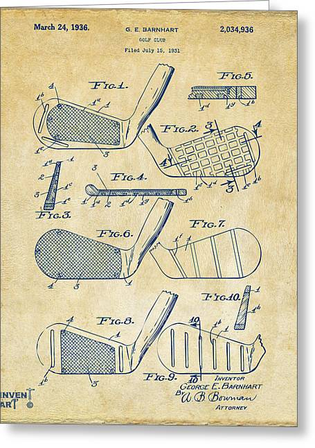1936 Golf Club Patent Artwork Vintage Greeting Card by Nikki Marie Smith