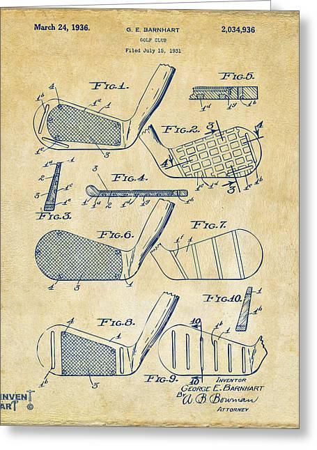 1936 Golf Club Patent Artwork Vintage Greeting Card