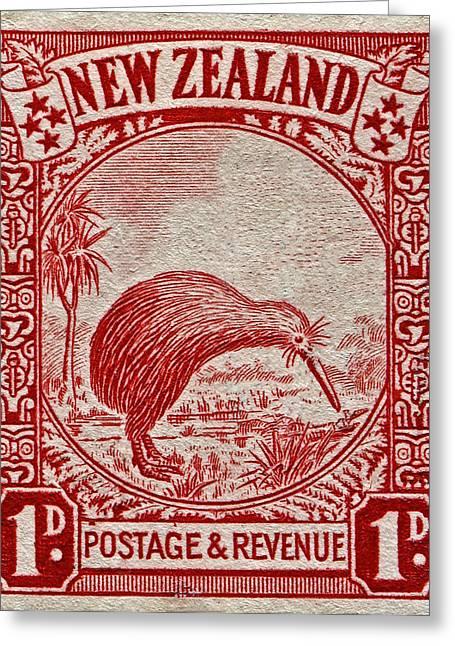 1936 New Zealand Kiwi Stamp Greeting Card