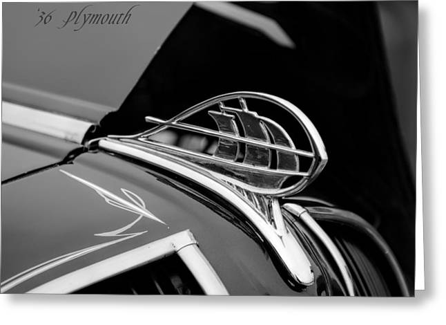 1936 Plymouth Sailing Ship Hood Ornament Greeting Card