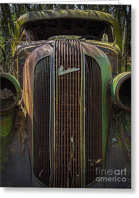 Greeting Card featuring the photograph 1936 Pontiac Head On by Ken Johnson