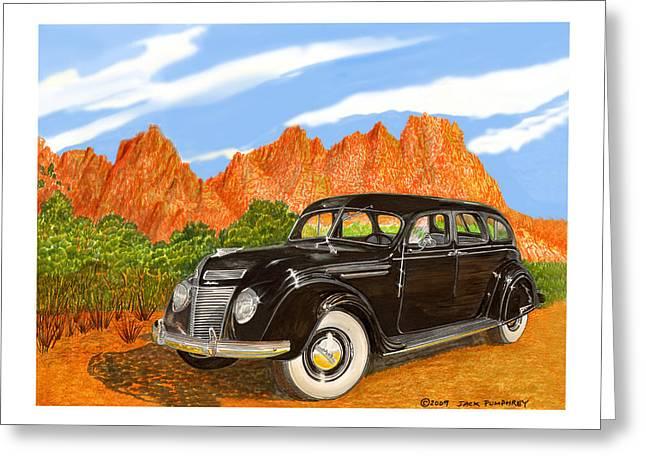 1937 Chrysler Airfow Greeting Card by Jack Pumphrey