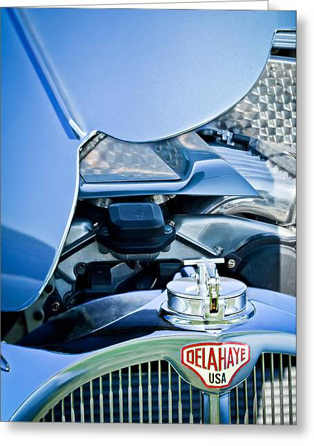1937 Delahaye 115a Engine Greeting Card by Jill Reger