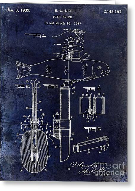 1937 Fishing Knife Patent Blue Greeting Card