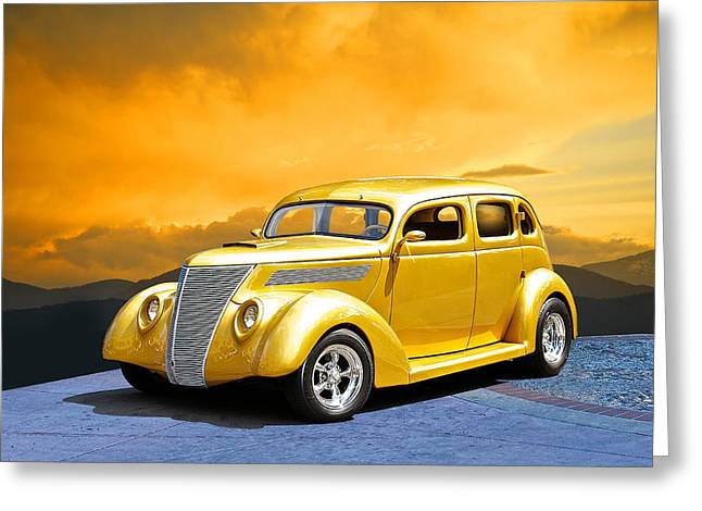 1937 Ford 24 Ct Tudor Sedan Greeting Card by Dave Koontz
