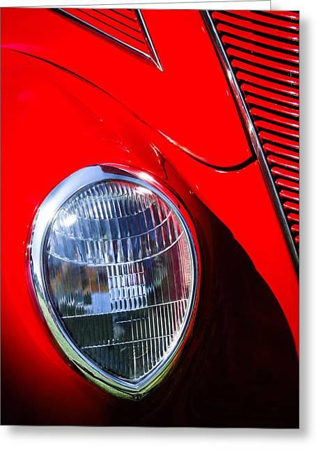 1937 Ford Tudor Headlight Greeting Card by Jill Reger