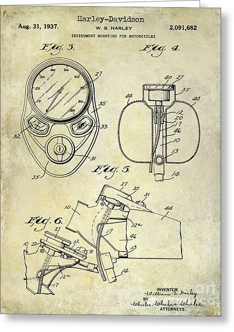 1937 Harley Davidson Patent Drawing Instrument Greeting Card