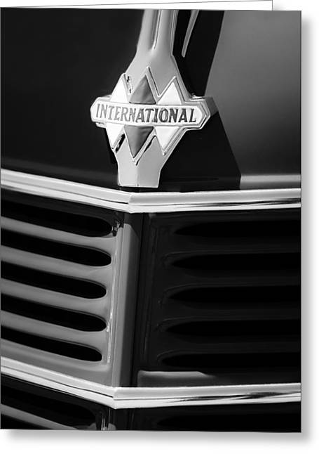 1937 International D2 Pickup Truck Grille Emblem Greeting Card by Jill Reger
