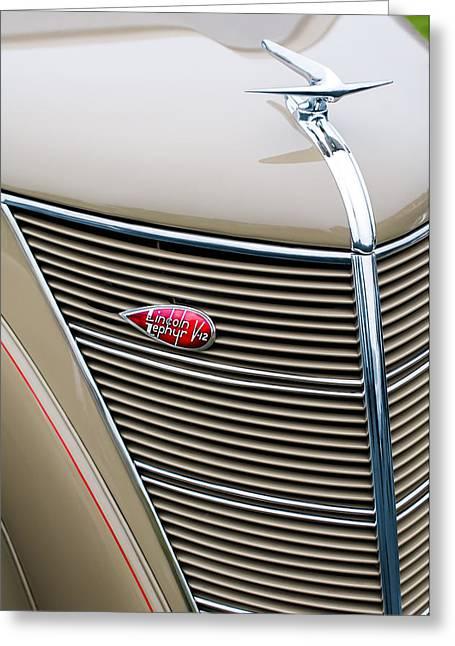 1937 Lincoln-zephyr Coupe Sedan Grille Emblem - Hood Ornament Greeting Card
