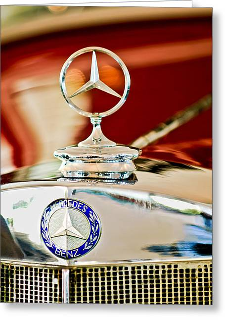 1937 Mercedes-benz Cabriolet Hood Ornament Greeting Card by Jill Reger