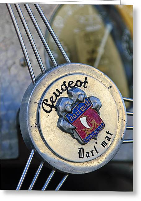 1937 Peugeot 402 Darl'mat Legere Special Sport Roadster Recreation Steering Wheel Emblem Greeting Card by Jill Reger