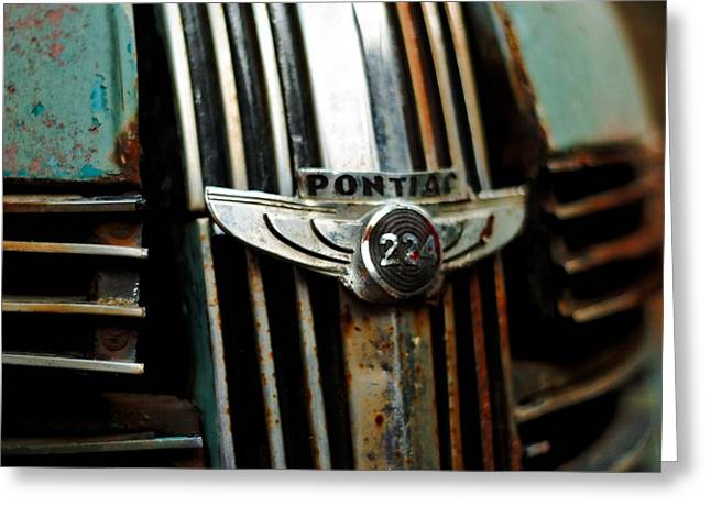 Greeting Card featuring the photograph 1937 Pontiac 224 Grill Emblem by Trever Miller