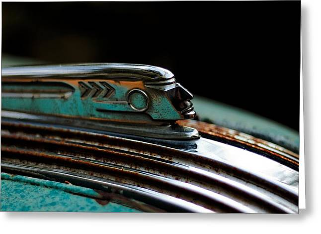 Greeting Card featuring the photograph 1937 Pontiac 224 Hood Ornament by Trever Miller