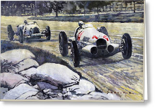 1937 Rudolf Caracciola Winning Swiss Gp W 125 Greeting Card by Yuriy Shevchuk