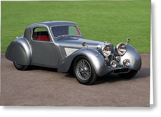 1938 Jaguar Ss100 Fhc Grey Lady Fixed Greeting Card by Panoramic Images
