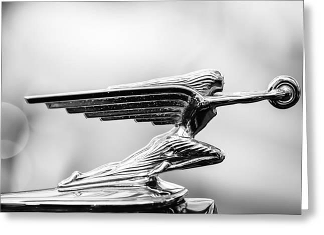 1938 Packard Hood Ornament -1094bw Greeting Card