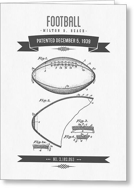1939 Football Patent Drawing - Retro Gray Greeting Card by Aged Pixel