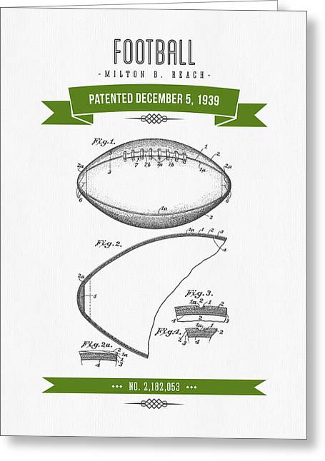 1939 Football Patent Drawing - Retro Green Greeting Card by Aged Pixel