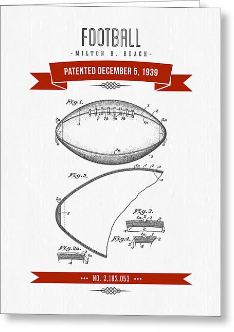 1939 Football Patent Drawing - Retro Red Greeting Card by Aged Pixel