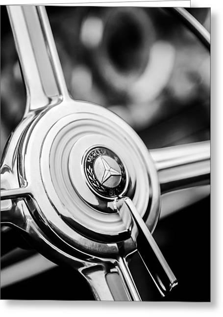 1939 Mercedes-benz 540k Special Roadster Steering Wheel -1284bw Greeting Card by Jill Reger