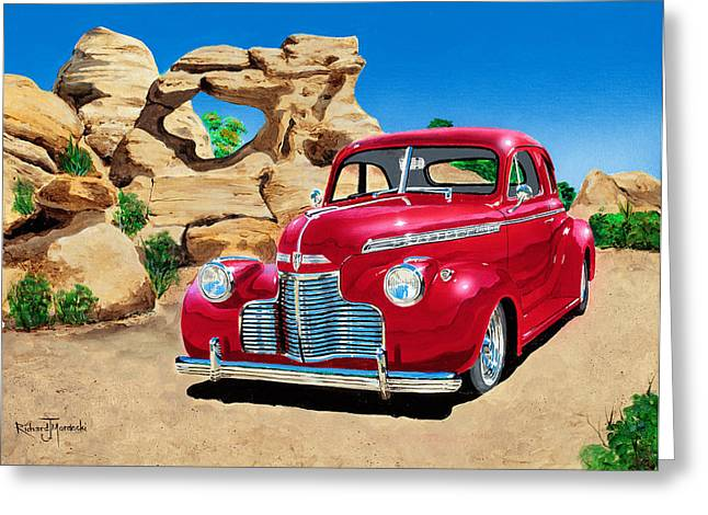 1940 Chevy Coupe In The Rocks Greeting Card