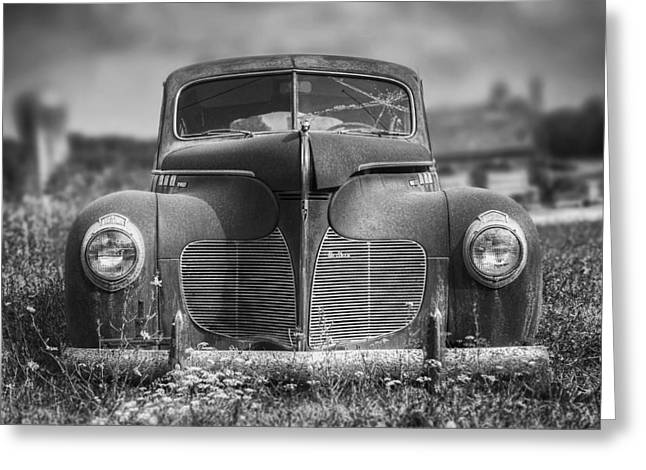 1940 Desoto Deluxe Black And White Greeting Card by Scott Norris