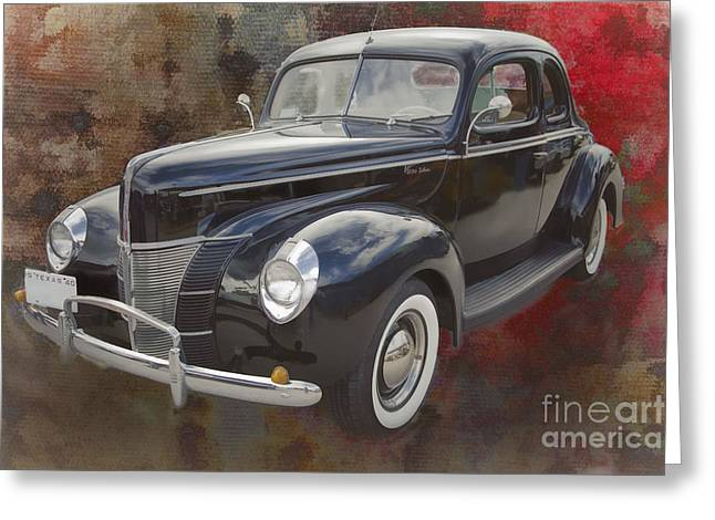 1940 Ford Deluxe Photograph Of Classic Car Painting In Color 319 Greeting Card