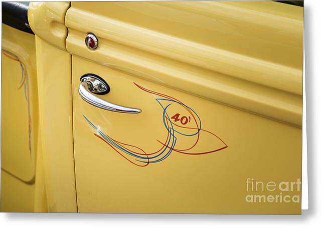 1940 Ford Pickup Truck Door Handle Car Or Automobile In Color  3 Greeting Card by M K  Miller