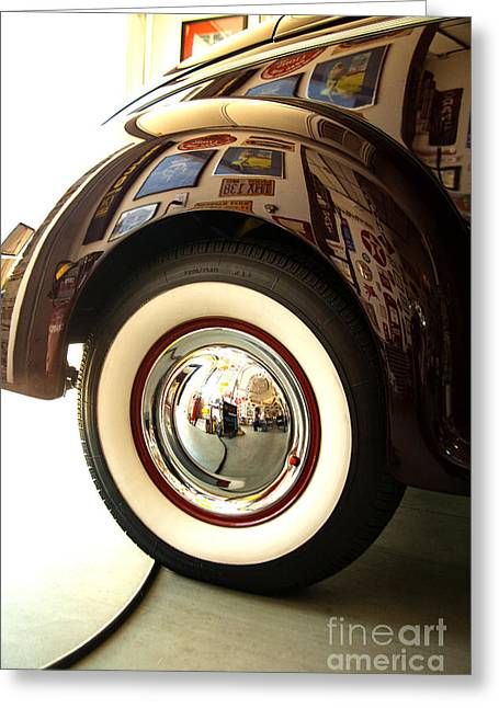 Greeting Card featuring the photograph Classic Maroon 1940 Ford Rear Fender And Wheel   by Jerry Cowart