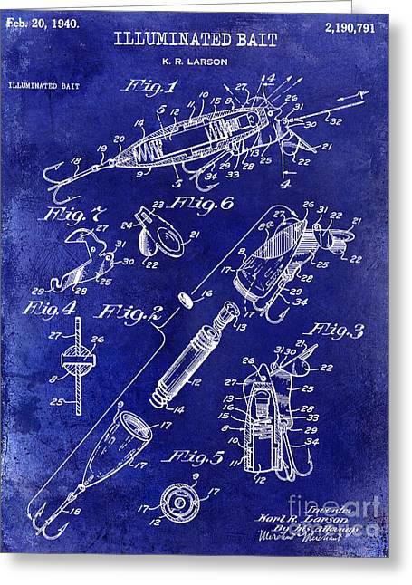 1940 Illuminated Bait Patent Drawing Greeting Card by Jon Neidert